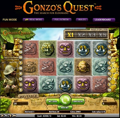 Gonzo's Quest slot screenshot