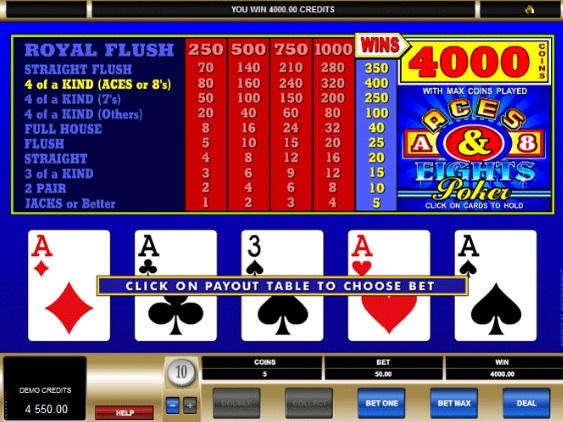 Aces and Eights poker screenshot